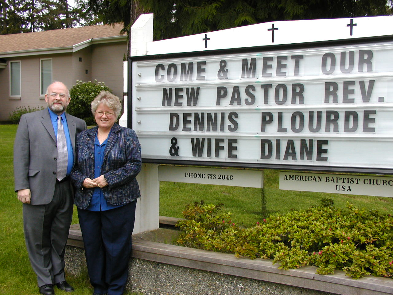 Dennis and Diane Plourde with Church Reader Board